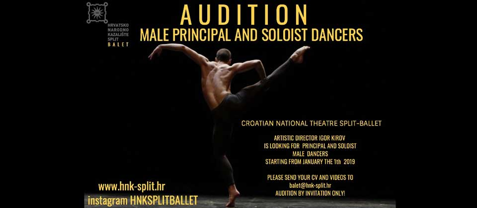 Audition Notice Croatian National Theatre Split / Ballet