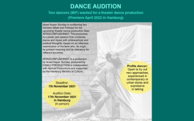 Dance Audition Two Dancers (M/F) Wanted For A Theater Dance Production